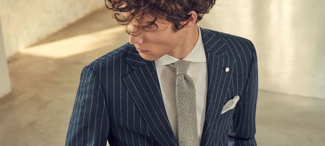 pinstriped blue suit for man