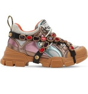 "GUCCI SNEAKERS ""FLASHTREK"" IN PELLE METALLIZZATA 60MM, scarpe gucci da donna"