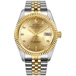 BUREI Orologio da Polso, Uomo, Orologio da Polso Meccanico, Zaffiro, Autofilantato,Cinturino Acciaio Inossidabile Data Calendario, orologi uomo eleganti