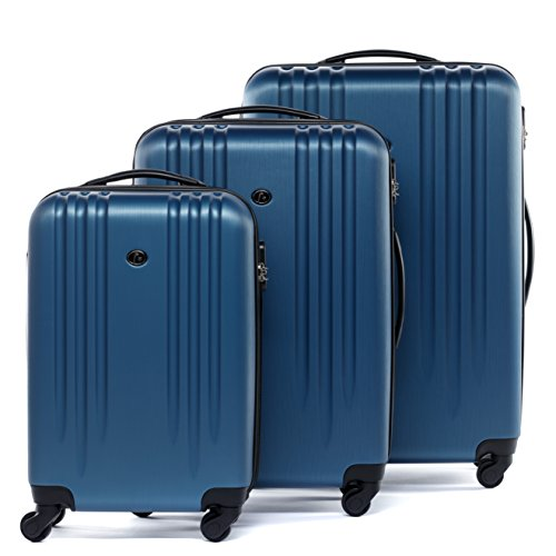 FERGÉ set di 3 valigie viaggio MARSIGLIA - bagaglio rigido dure leggera 3 pezzi valigetta 4 ruote girevole blu, valigie da viaggio