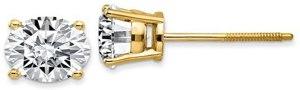 1 ct con diamante solitario orecchini in oro giallo 14 K vite posteriore (D color vs1-vs2 Clarity)