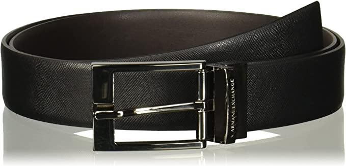 ARMANI EXCHANGE Leather Belt with Plaque Cintura Uomo