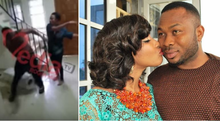 "Video of furious Tonto Dikeh ""physically attacking"" her ex-husband, Churchill, released"