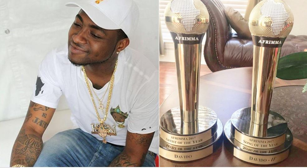 Davido pays respect, dedicates his AFRIMMA awards to his late friends, DJ Olu and Tagbo