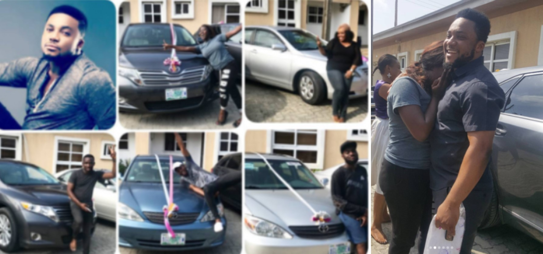 Nigerian Gospel artiste, Tim Godfrey, buys 2 Venza and 3 Toyota Camry cars for his crew members (Photos)