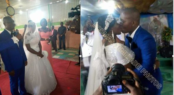 Talking of kiss,  this one has passion – Excited groom passionately kisses wife at the alter (Photos)