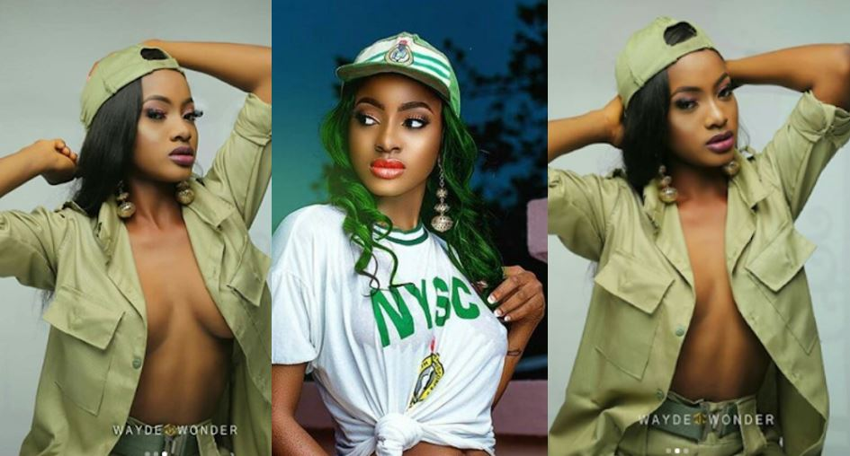 Corp member who flashed nipples in NYSC vest, releases more racy photos in NYSC khaki