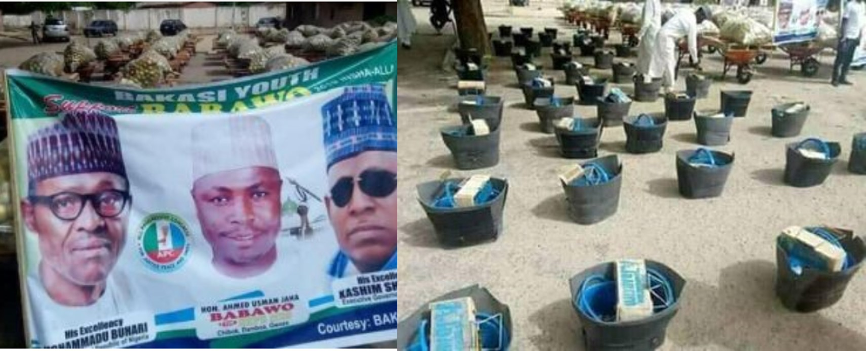 Jubilation as House of Reps member empowers Borno youths with shoe shining kits, bags of oranges, others (photos)