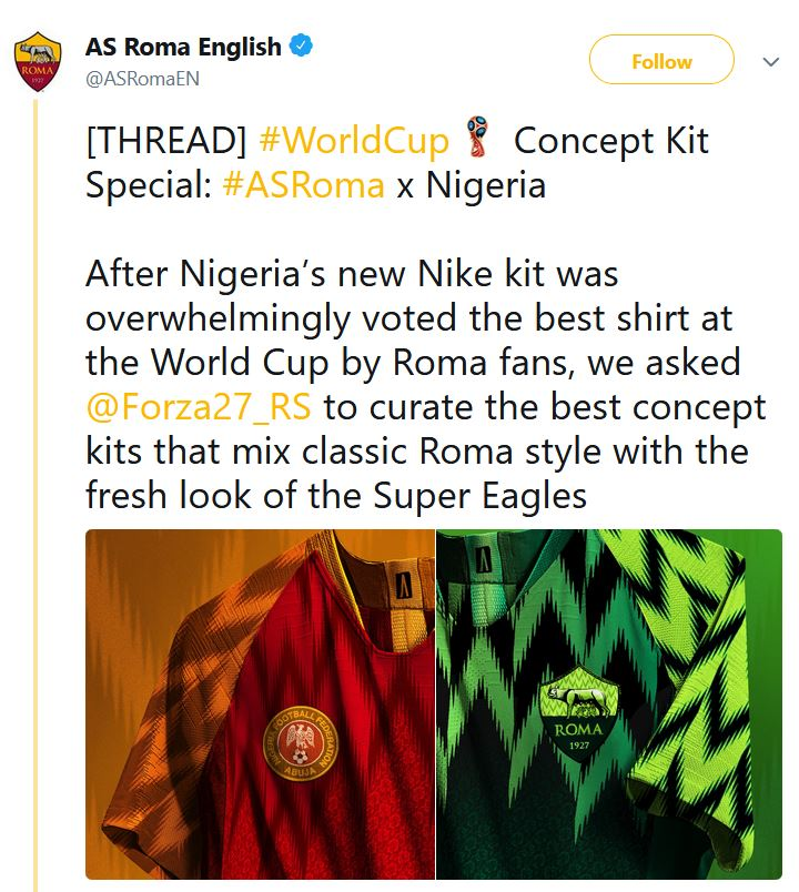 799d5e2a3 Nigerians React as AS Roma Adopts Super Eagles Jersey s Design For ...