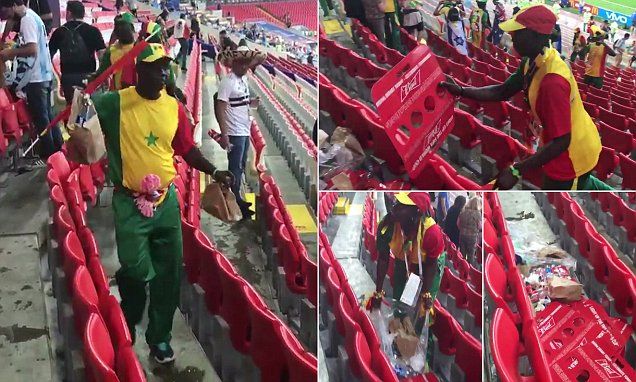 Russia 2018: Senegal fans clean up stadium after Poland victory