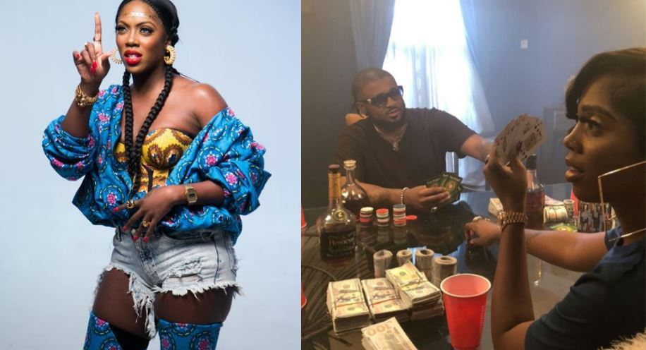 Tiwa Savage Pictured Gambling With Wards Of Dollar Cash On Table
