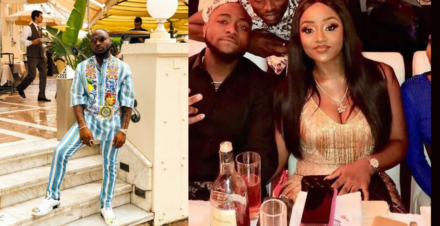 Davido angrily replies hater who called Chioma an 'idiot' for commenting on the outfit he wore to an interview in France (Screenshot)