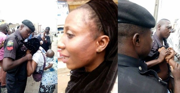 Police officer slaps nursing mother in Ibadan (photos)