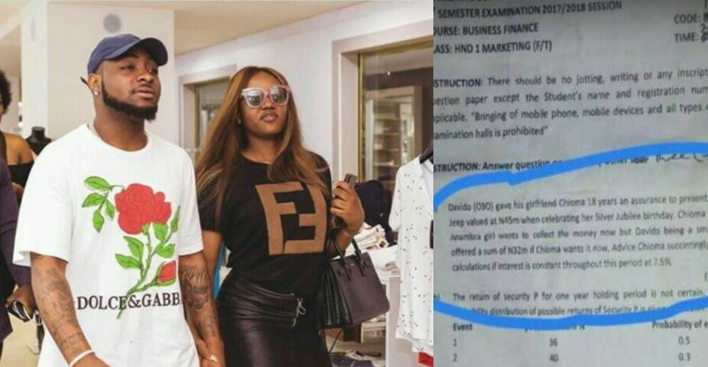 Davido and Chioma's love story featured in Yabatech's Department of Marketing exam question (Details)