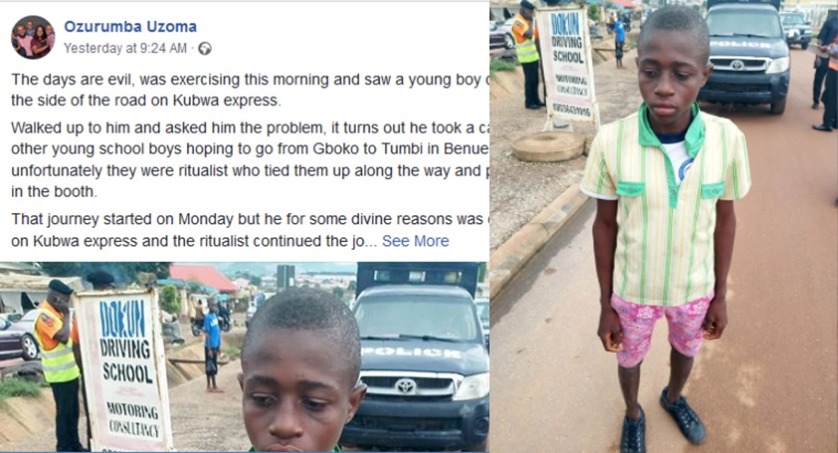 Ritualists abduct young boy in Benue, abandon him on a road in Abuja (photo)