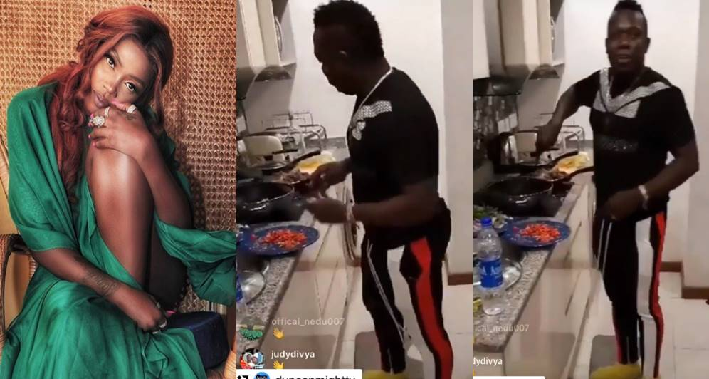 """Mr lova lova, You too much ooo ""Tiwa Savage praises Duncan Mighty's cooking skills, shares video of him in the kitchen"