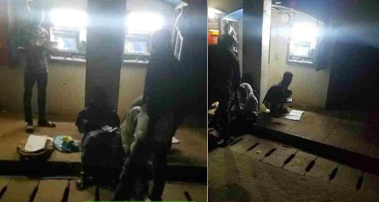 OAU students reading with 'ATM light' at night (Photos)