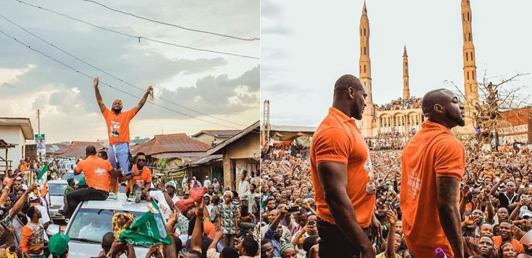 Davido Rushed By Fans As He Campaigns For His Uncle, Ademola Adeleke, In Osun (Photos)