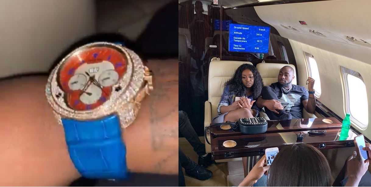 Davido flaunts diamond encrusted wristwatch he newly acquired for over ₦9 million (Photos)