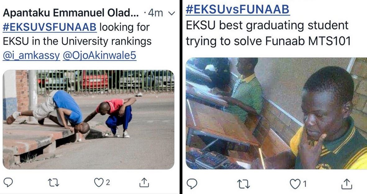 #TrollGame: EKSU and FUNAAB Students seriously shade each others on Social Media