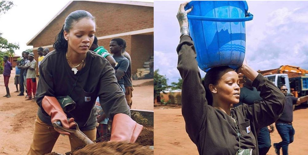Photos Of Rihanna Carrying Sand And Water To Help Build A Hospital In Malawi Melt Hearts Online