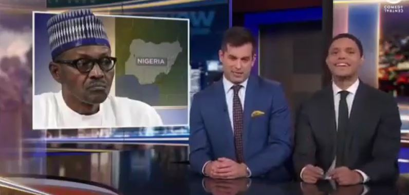 Trevor Noah and Daily Show correspondent mock President Buhari over his cloning allegations (Video)