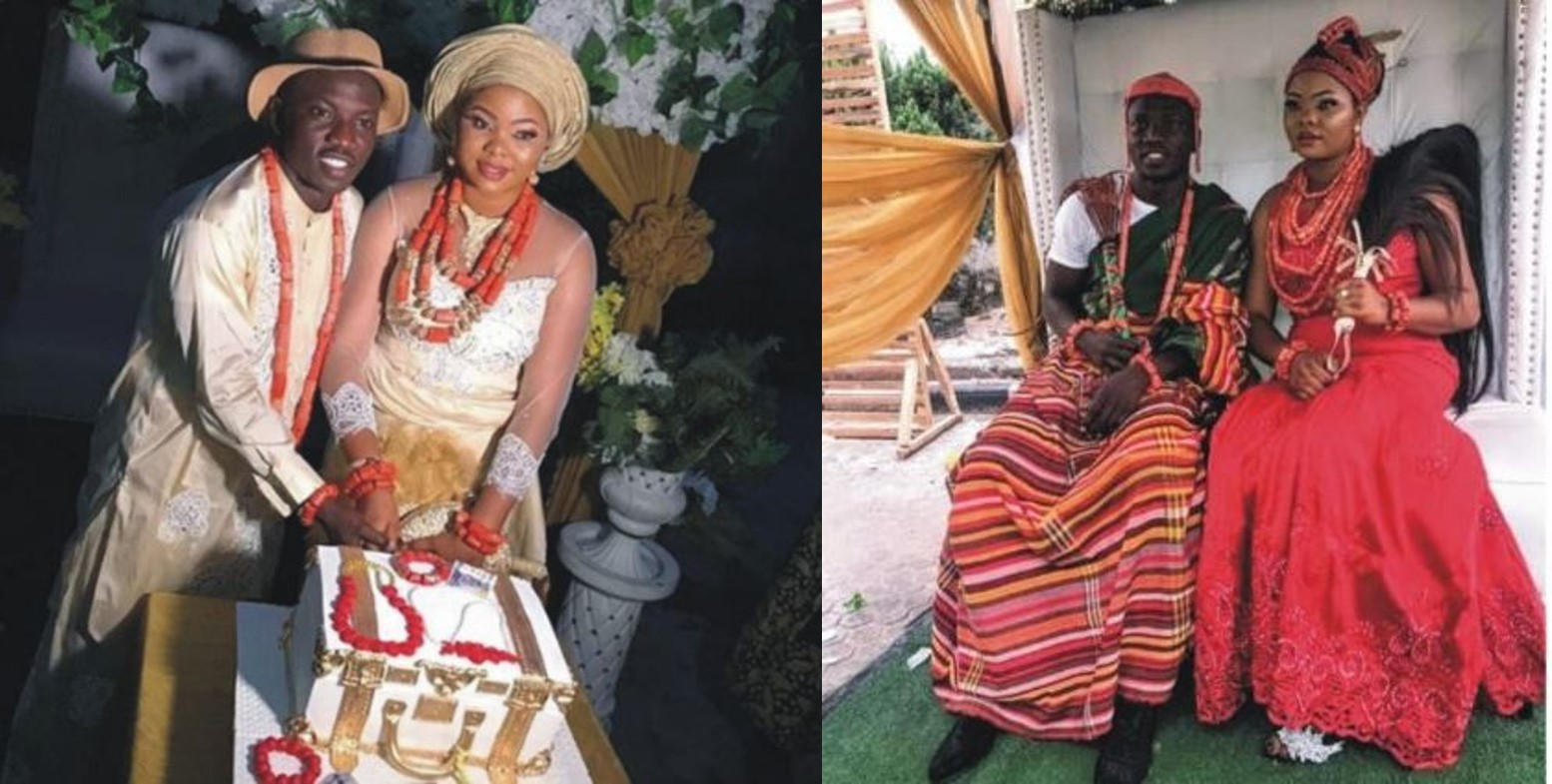 Super Eagles midfielder, Etebo Oghenekaro weds his babymama in Warri (Photos)