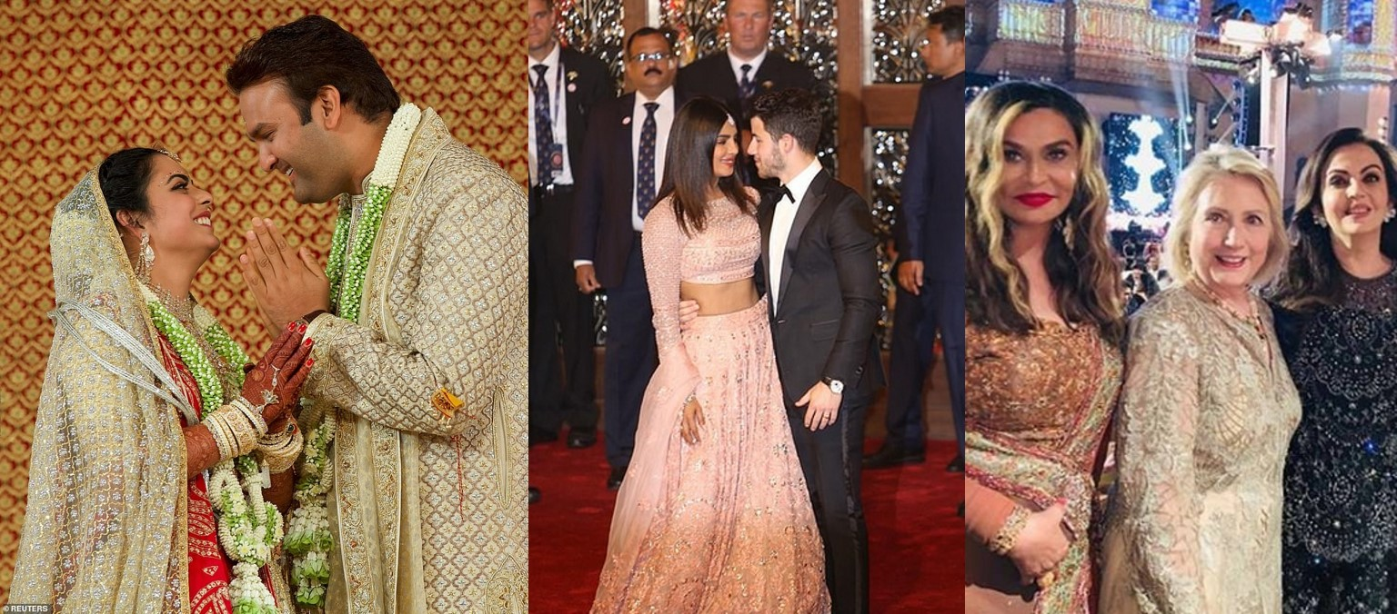 Glamorous photos from the $100m wedding of the daughter of India's richest man