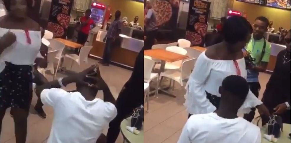 Drama as Nigerian man proposes to his longtime girlfriend in public but forgot the ring at home