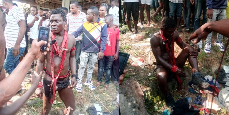Man pretending to be mad caught in Warri by residents (Video/photos)