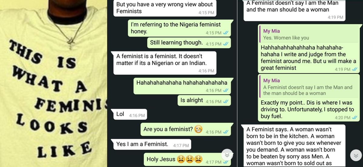 Nigerian lady shares WhatsApp conversation between her and a feminist who was making her see reasons why she should become a feminist