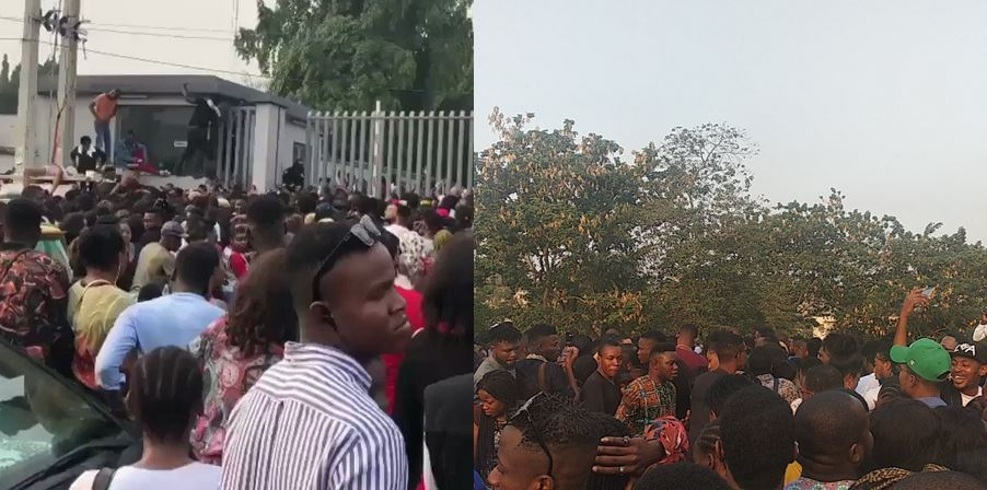 Lady turns to Spiderwoman to beat the massive queue at the BBNaija 2019 audition in Lagos today, photos from different audition venues