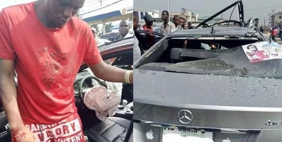Man crashes a borrowed Benz while speeding in Delta State (Photos)