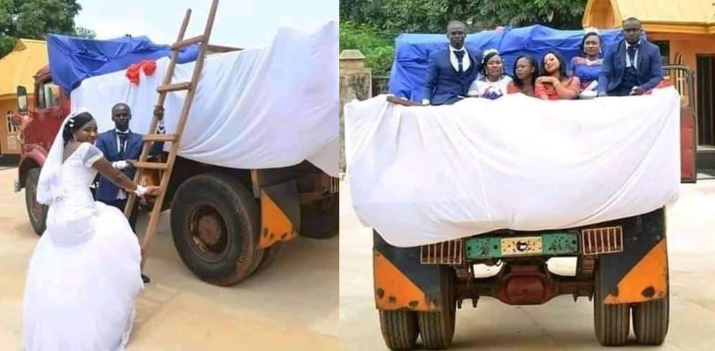 Couple uses tipper for their wedding in Akwa Ibom