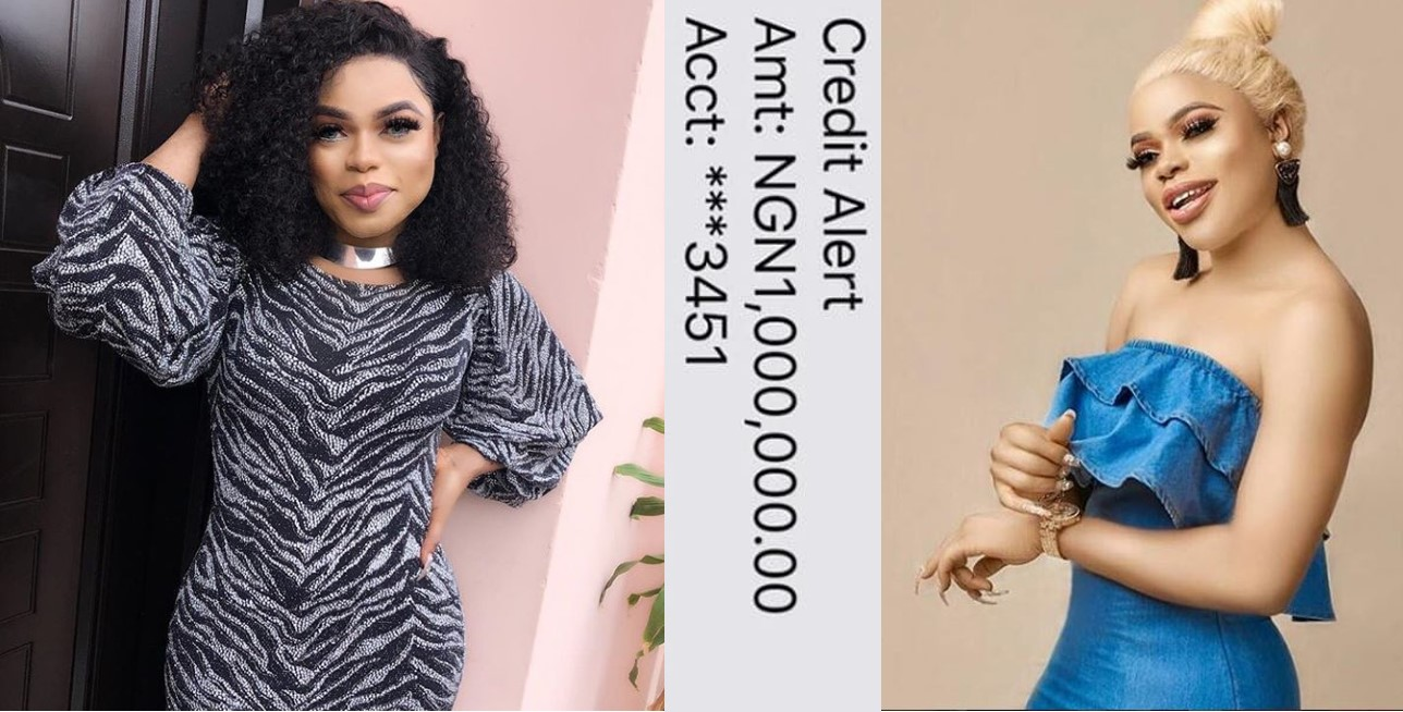"""I feel sad anytime I make less than a million naira daily"" – Bobrisky brags, shares credit alerts"