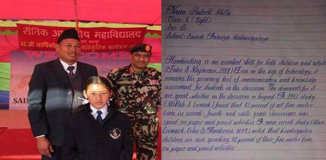 Meet Prakriti Malla, little girl with the best handwriting in world