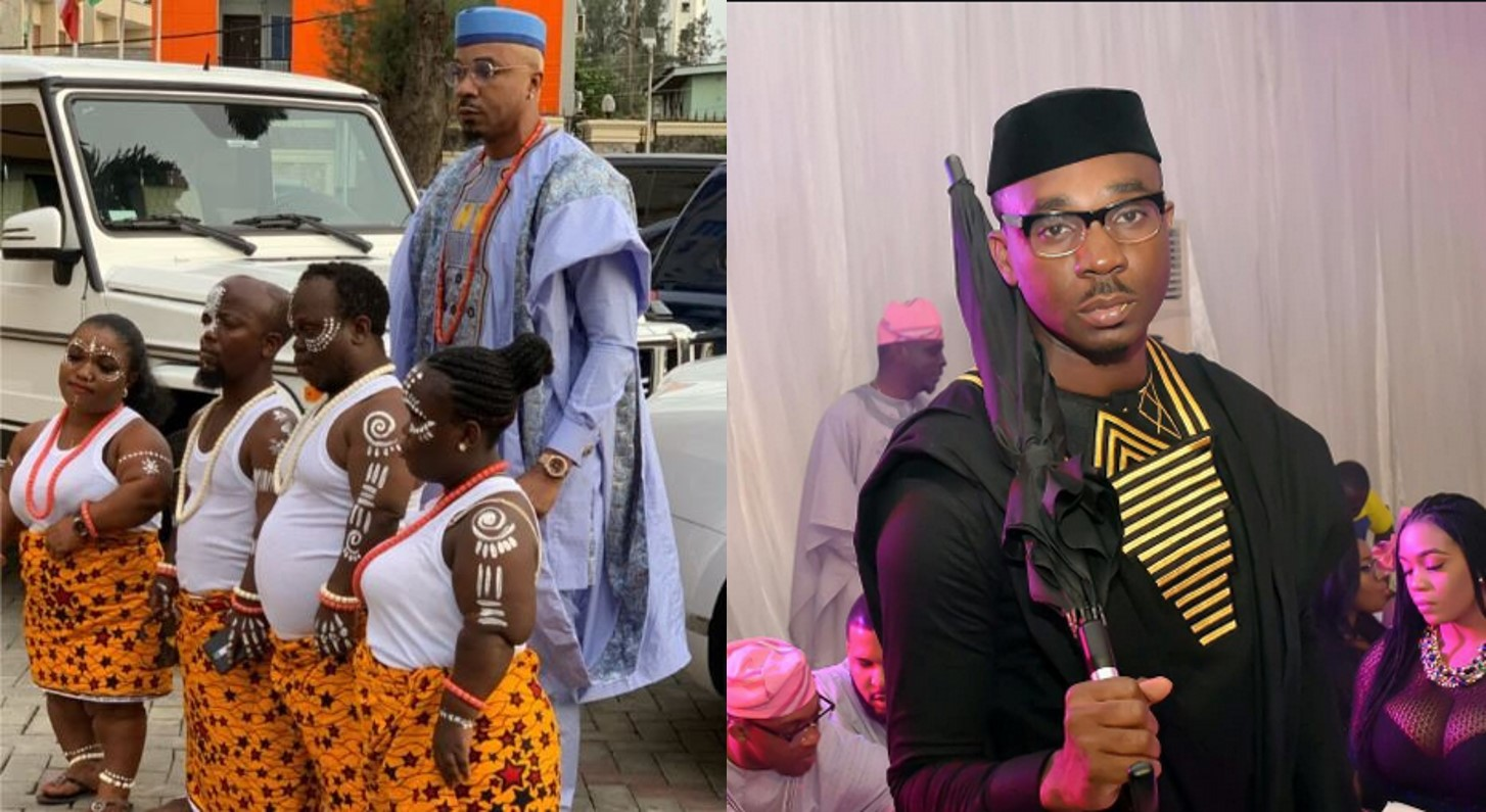 Pretty Mike steps out for a wedding with four dwarfs carrying sacrifice (Video)