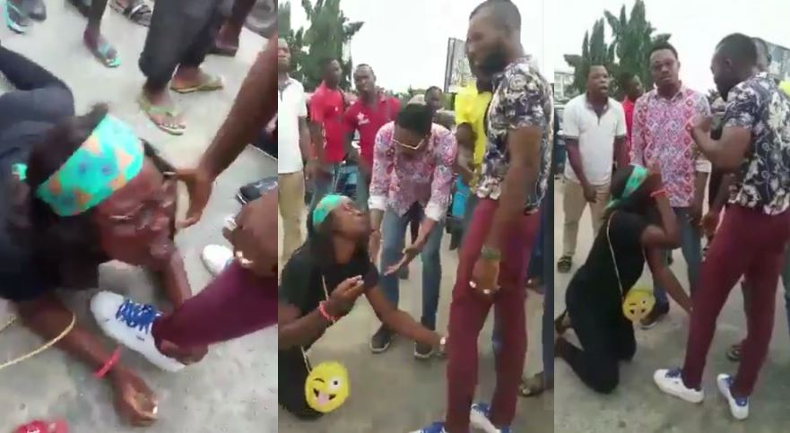 Drama as Nigerian lady proposes to her boyfriend in public and he says 'NO' (Video)