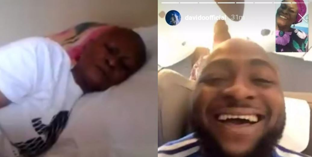 Davido finally finds sick lady who wished to see him, sings for her (Photo)