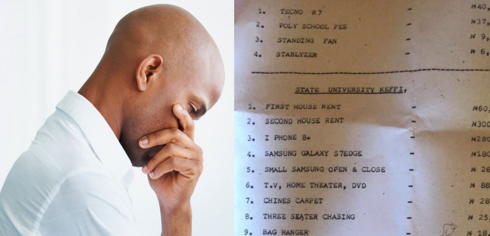Man lists all the expenses he made on his girlfriend of 4-years and asks her family to pay him back after she refused to marry him