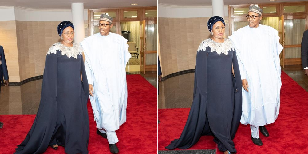 Aisha Buhari rocks N772,200 Oscar De LaRenta cape dress to Democracy Day gala night
