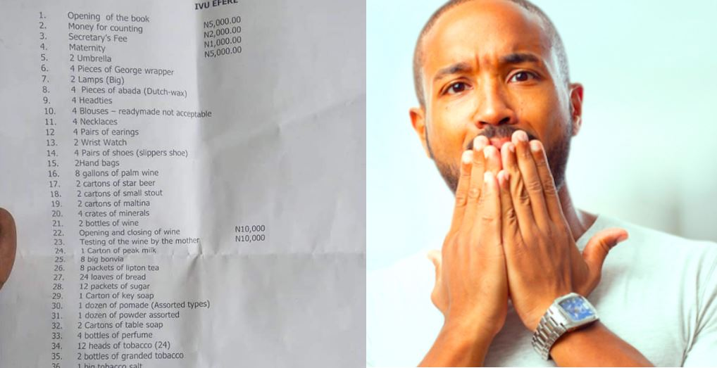 Man shares list of 103 items on the marriage list given to him by his fiancee's family in Imo State