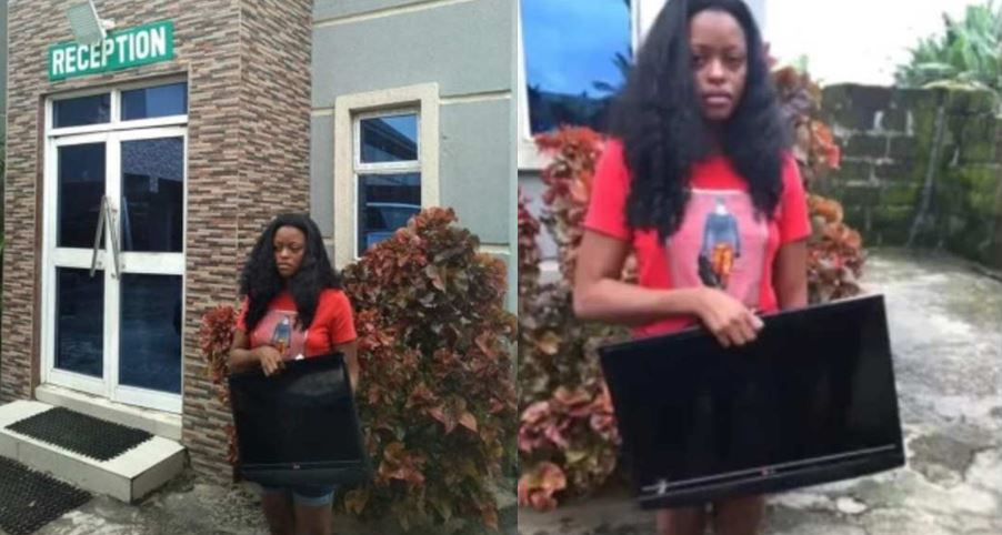 Young lady caught stealing a hotel's plasma TV in Delta state (Photo)