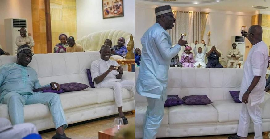 Photos of Edo Governor, Obaseki and Oshiomole at their peace meeting