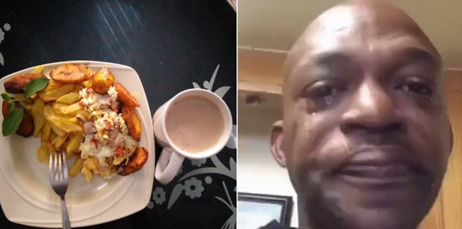 Nigerian man in tears after his girlfriend prepared a delicious fried plantain and eggs