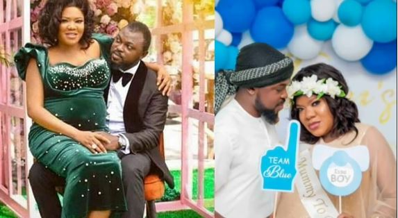 Toyin Abraham reportedly welcomes a baby boy with her husband, Kolawole Ajeyemi (video/photos)