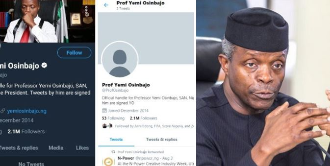 Nigerians react after Presidency gave reason on why Yemi Osinbajo's Twitter account was unverified