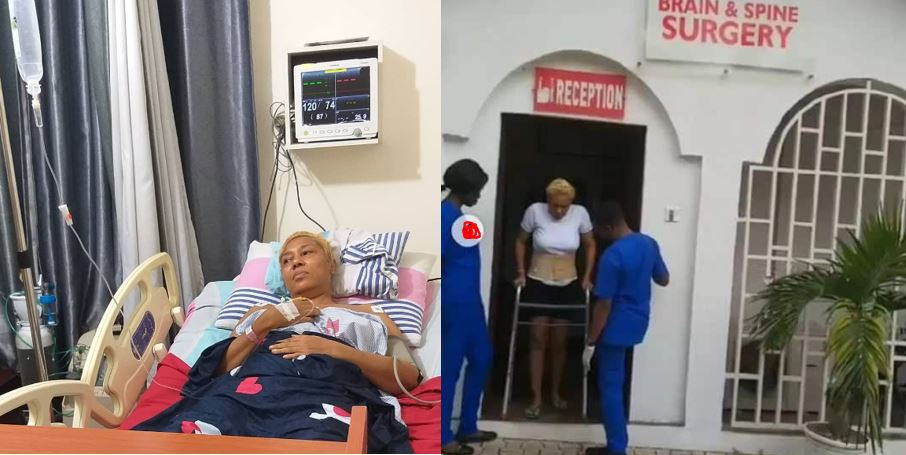 The moment Shan George stepped out for the first time after spine surgery (photos)