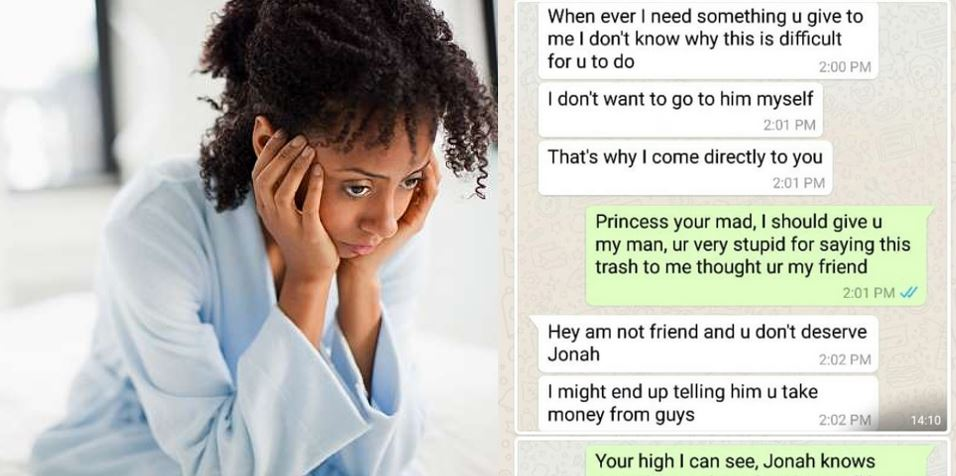 """""""My friend said she wants my man and she will go for him"""" – Nigerian lady shares screenshot of chat with her friend"""
