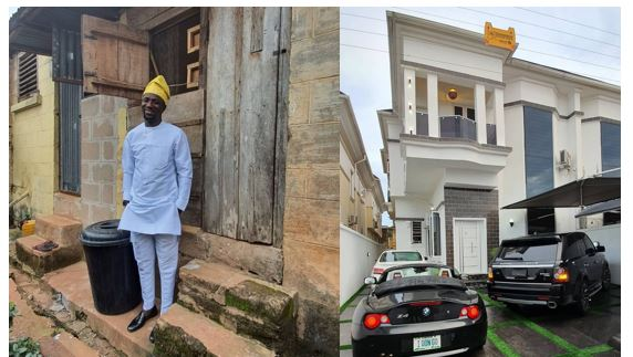 Comedian OgusBaba shares photos of his first rented apartment in Enugu as he becomes a landlord in Lekki, Lagos